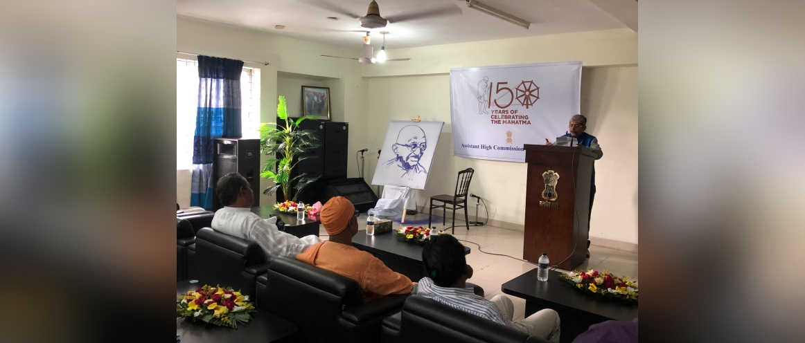 AHC speaking at the celebration of 150th birth anniversary of Mahatma Gandhi in Sylhet. Hon'ble MP Habibur Rahman Manik was the Chief Guest. Apart from the Chief Guest and Maharaj of Ramakrishna Mission Sylhet, senior faculty members of SUST, Murarichand College and Ragib Rabeya College spoke at length about Mahatma, his philosophy and its relevance in the current context.