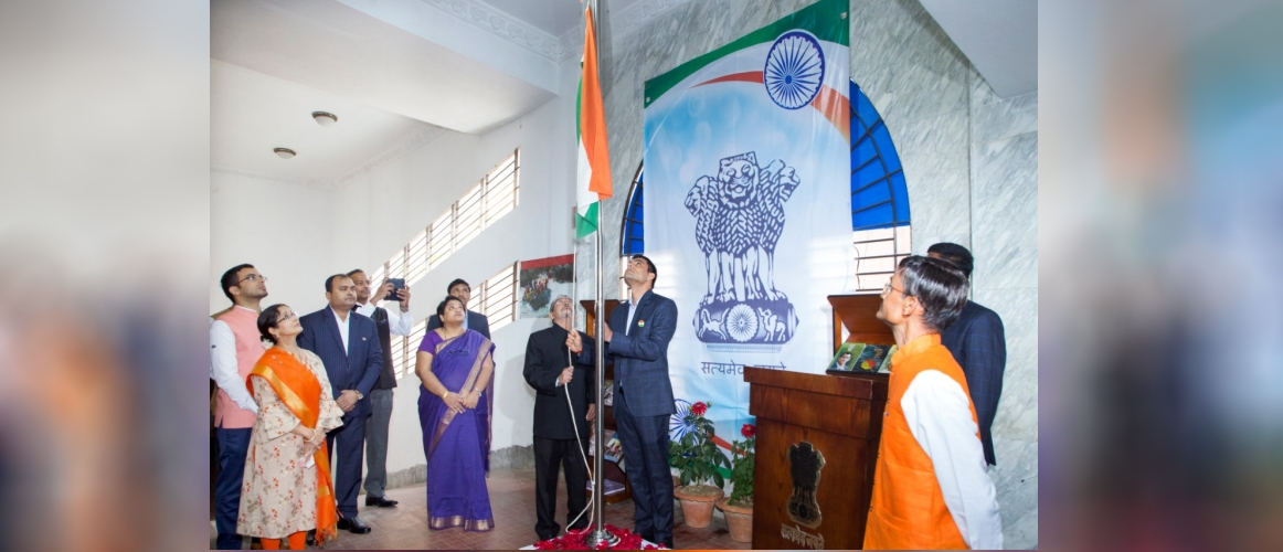 The National Flag being unfurled by Assistant High Commissioner Shri L.Krishnamurthy on the occasion of our 71st Republic Day on 26 Jan 2020.