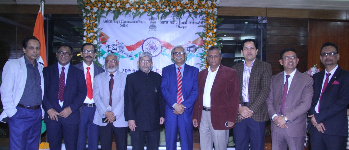 Shri L. Krishnamurthy, AHC Sylhet with distinguished personalities from Sylhet in reception program hosted by AHCI, Sylhet on the occasion of 70th Republic Day of India